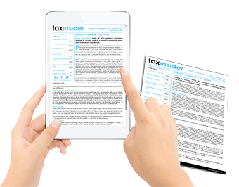 Tax Insider newsletter hands holding iPad tablet paper magazine